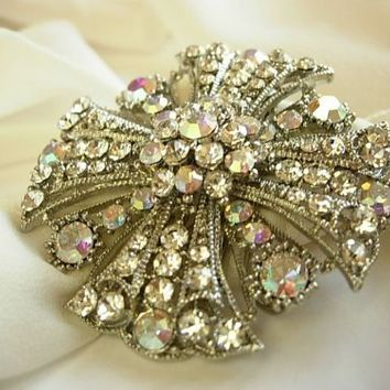 Vintage Style Large Crystal Pin Brooch Broach Clear