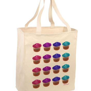 Colorful Cupcake Pattern Large Grocery Tote Bag by TooLoud