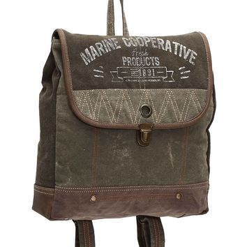 Myra Bag Marine Cooperative Up-cycled Canvas Backpack