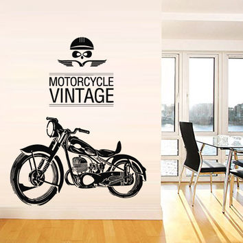 Motorcycle Vintage Wall Decal Vinyl Sticker Art Decor Design Moto Cars Old School Retro Harley Bike Motobike Rock Style Dorm Bedroom (m1371)