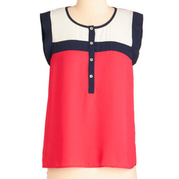 ModCloth Colorblocking Mid-length Sleeveless Leave it to Glee Top