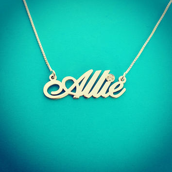 14k White Gold Name Necklace with a Genuine Diamond