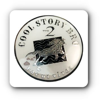 "Funny Joke Coin, A Very large 44mm and 2 oz Heavy ""Cool Story Bro"" ""Two Shits Given"" Novelty, High Quality Epoxy Plated l Simply Minimal®"