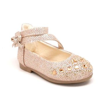 Baby Gold Glitter Shoes with Hook and Loop Strap