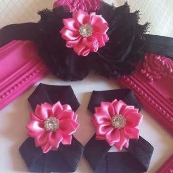 Black Shabby and Pink Satin Rhinestone Flower Headband and Barefoot Sandal Set!