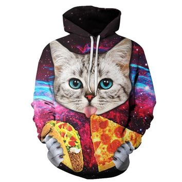 Pizza Cat Hoodies - Women Sweatshirts 3D Printed Pullover