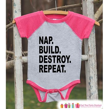 Funny Kids Shirt - Nap Build Destroy Repeat - Engineer Funny Onepiece or T-shirt - Builder Shirt - Girls Pink Raglan - Kids Gift Idea