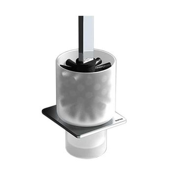 Sonia S-CUBE Bathroom Frosted Glass Toilet Brush Bowl Cleaner and Holder Set