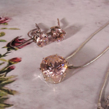 BIRTHDAY - OCTOBER - 1970s Light Blush Pink Tourmaline Necklace and Earring Silver Tone Set – Pierced Ears