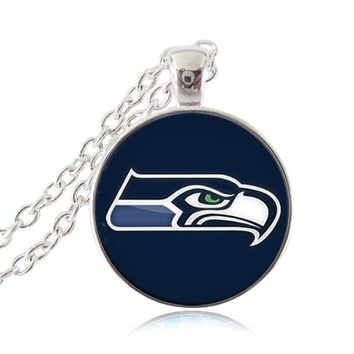 Seattle Seahawks necklaces pendants silver plated football jewelry glass cabochon statement necklaces womens men jewelry  gifts