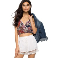EBUYTIDE Women's High Waisted Casual Lace Shorts Pants