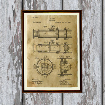 Astronomy print Telescope poster Industrial decor Vintage art AKP215