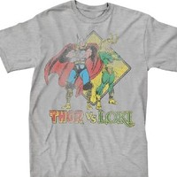 Marvel Comics Thor Vs Loki Retro Adult Heather Gray T-Shirt