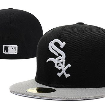 PEAPON Chicago White Sox New Era MLB Authentic Collection 59FIFTY Hats Black-White
