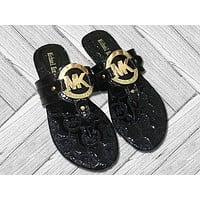 MK Michael Kors Fashion New More Letter Print Leisure Shoes Slippers Women Black