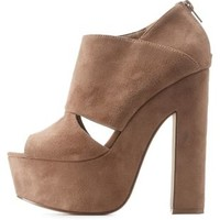 Taupe Cut-Out Platform Chunky Heels by Charlotte Russe