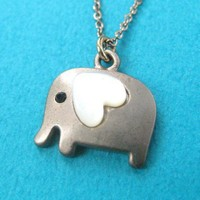 Small Elephant Animal Charm Necklace in Dark Silver with Heart- ALLERG