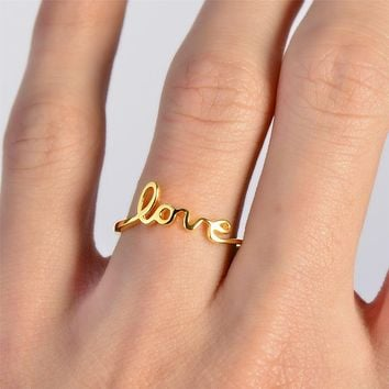 Celebrity Trend Gold Love Script Promise Engagement Ring