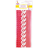 24 Red and White Polka Dot and Chevron Paper Straws, Biodegradable - Swirly Whirly