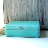 Teal Vintage Jewelry Box, Aqua Wooden Jewelry Holder, Beach Chic Jewelry Chest, Unisex Jewelry Box, Shabby Chic, Valet Box, Gift Ideas