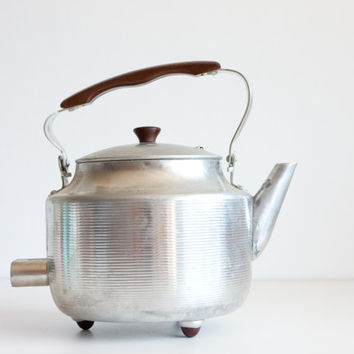 Vintage Aluminium Teapot, Soviet Electric Tea Kettle, Tea Pot, Farmhouse Decor, Kitchen Decor, Brown Plastic Handle
