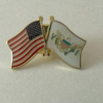 Virgin Island Flag And USA Lapel Pin Crossed Friendship Pin Tie Cap Shirt Pin
