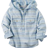Hooded Button-Front Popover Shirt