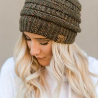 Knitted Confetti Beanie - Olive