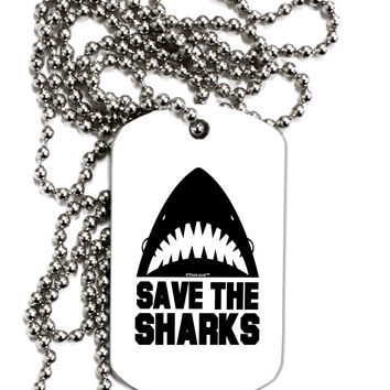 Save The Sharks Adult Dog Tag Chain Necklace