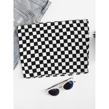 Gingham Crop Tube Top Black and White