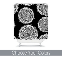 Black White SHOWER CURTAIN Custom Monogram Personalized Tribal Aztec Pattern Dorm Bathroom Girl Bathroom Beach Towel Plush Bath Mat Made Usa