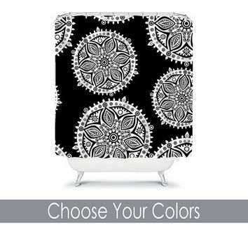 AZTEC Shower Curtain Tribal Monogram CUSTOM You Choose Colors Black White Flower Scales Floral Bathroom Bath Polyester Made in the USA