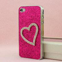 waloli shopping mall — Shiny Heart-shaped Relief Frosted Hard Cover Case for Iphone 4/4s/5
