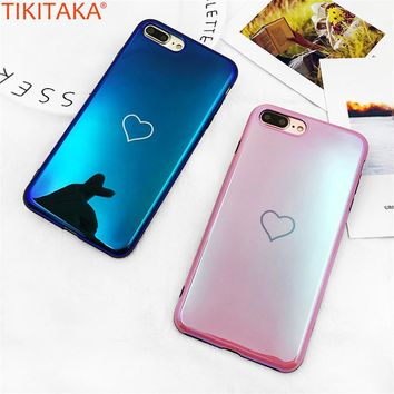 Fashion  Phone Case For iPhone 6s Plu Luxurious Simple Love Heart Soft TPU Blue Pink  For iPhone 7 8 7 Plus X