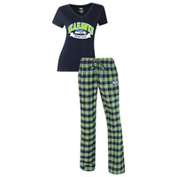 Seattle Seahawks Pajama Pants and V - Neck Top Set