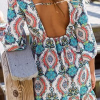 Gigi Paisley Print Bell-Sleeve Shift Dress