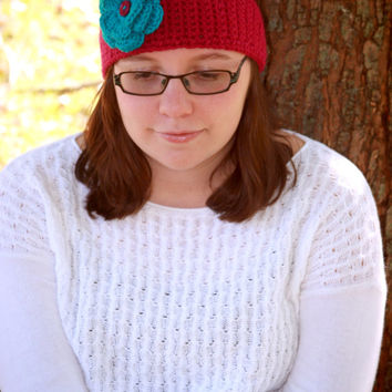 Purple headband winter ear warmer teen or ladies Magenta headwrap with teal blue flower custom colors available.