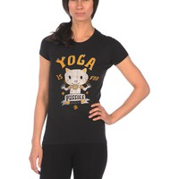 Spacecat Yoga is for Pussies Tee - Burn Out