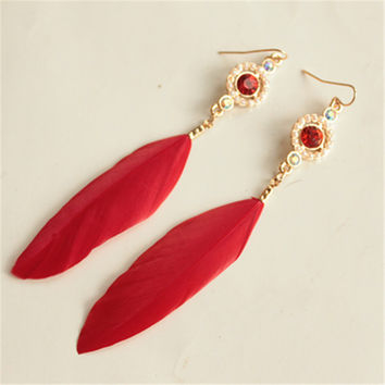new feather earrings Qingdao Europe and America of the original single small jewelry Taobao selling