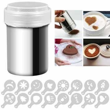 16 Coffee Stencils with Stainless Steel Powder Shakers