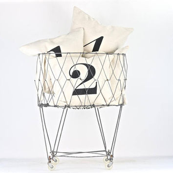 Wire Laundry Basket, Collapsible Wire Laundry Basket, Laundry Room Decor, Laundry Basket On Wheels, Vintage Wire Laundry Basket