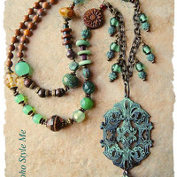 Bohemian Necklace, Beaded Gemstone and Glass Assemblage Necklace, Patina Charm Pendant, Boho Style Me, Kaye Kraus