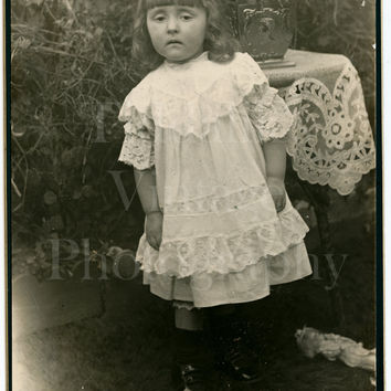 Cabinet Card Photo - Victorian Cute Little Girl, Lace Dress Discarded Doll Outdoor in Garden Portrait - Photographer Unknown - Antique Photo