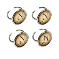 Letter N on Cork Design Napkin Ring Set