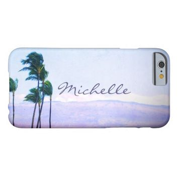 Hawaii palm trees & purple hills photo custom name barely there iPhone 6 case