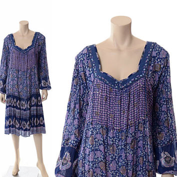 Vintage 60s 70s Floral India Cotton Dress 1960s 1970s Ethnic Indian Blue Lavender Painted Metallic Boho Hippie Gypsy Festival Dress / L-XL