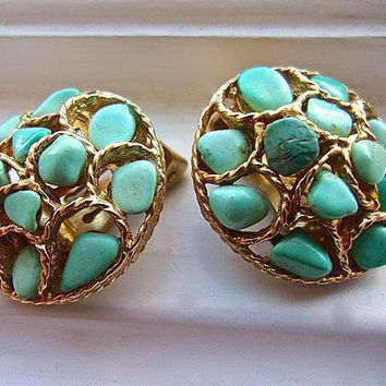 SWOBODA Turquoise Nugget Earrings Gold Tone Genuine Gemstone Cluster Vintage