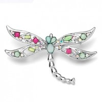Pugster Dragonfly With Colorful Asscher Cut Czech Stone Animal Brooches And Pins:Amazon:Jewelry
