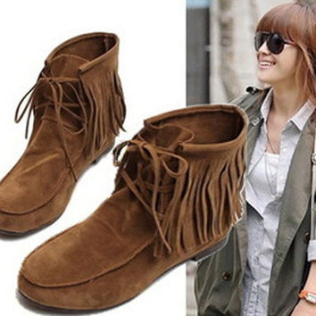 Women Girls Lady Fashion Fringe Tassel Warm Casual Snow Ankle Snow Boots Moccasins Flats Matte Faux Suede Lace Up Shoe [8401105991]
