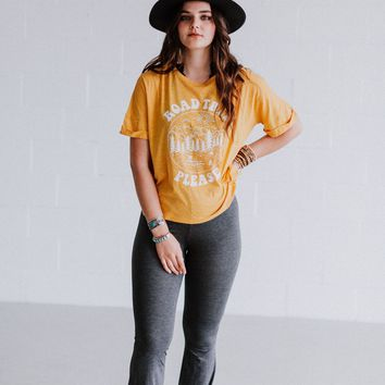 Road Trip Please Graphic Tee - Mustard